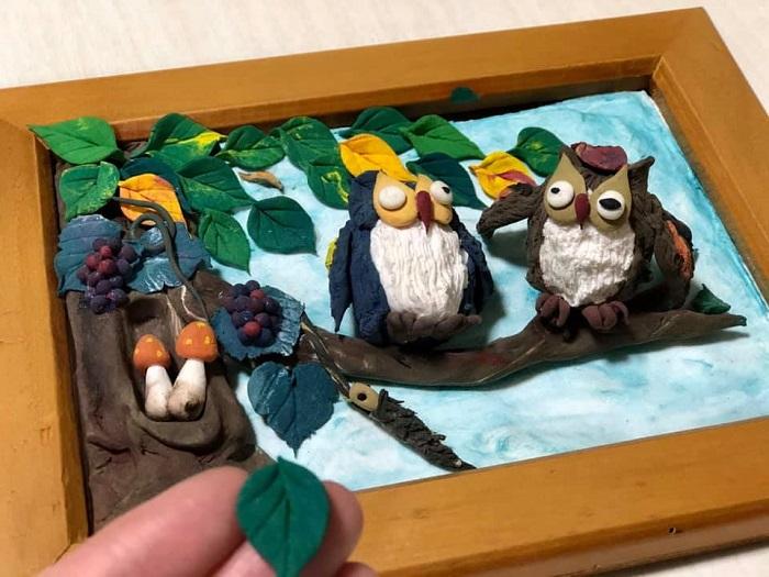 フクロウの紙粘土細工